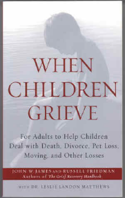 when children grieve book cover. image of child in grief.