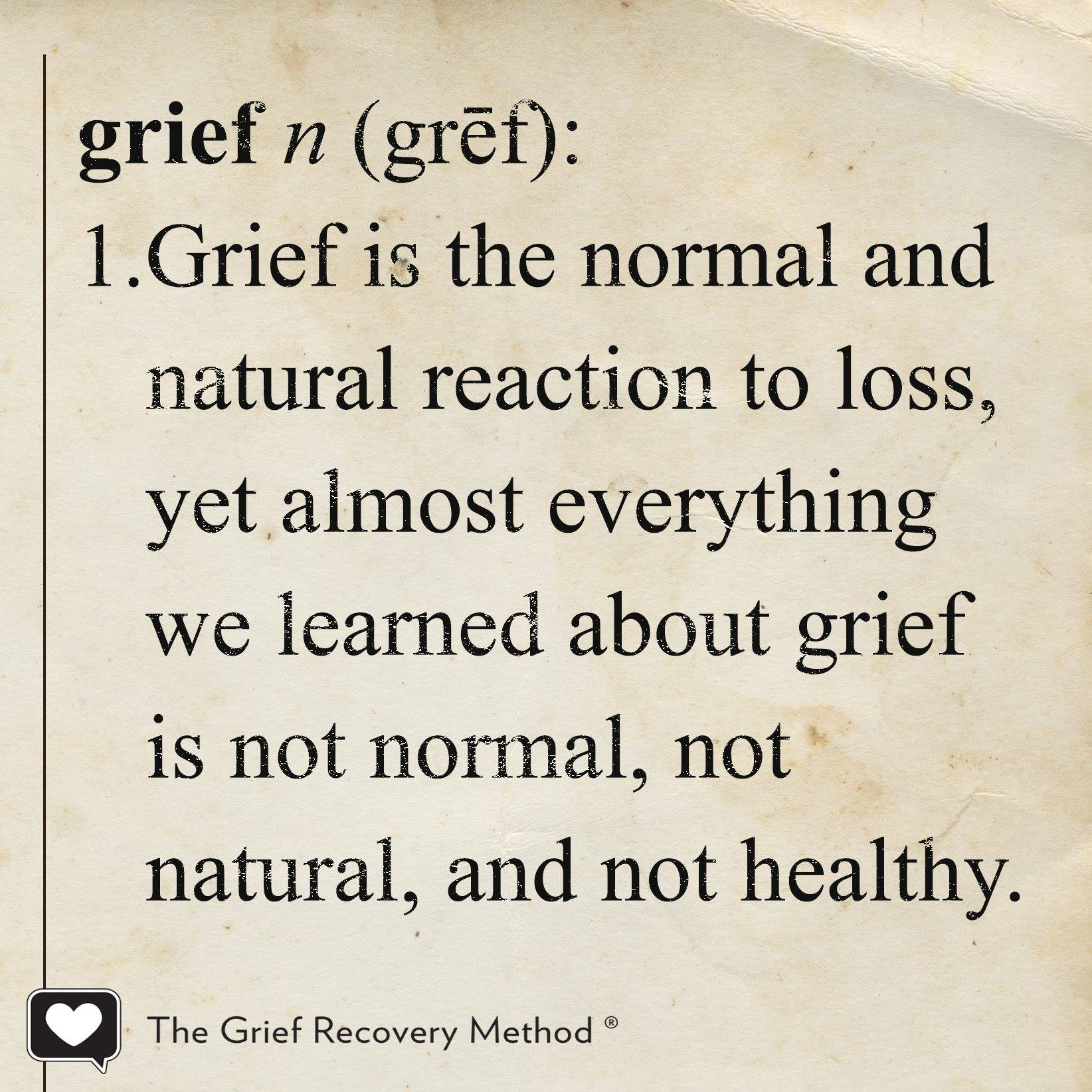 definition of grief normal and natural reaction to loss