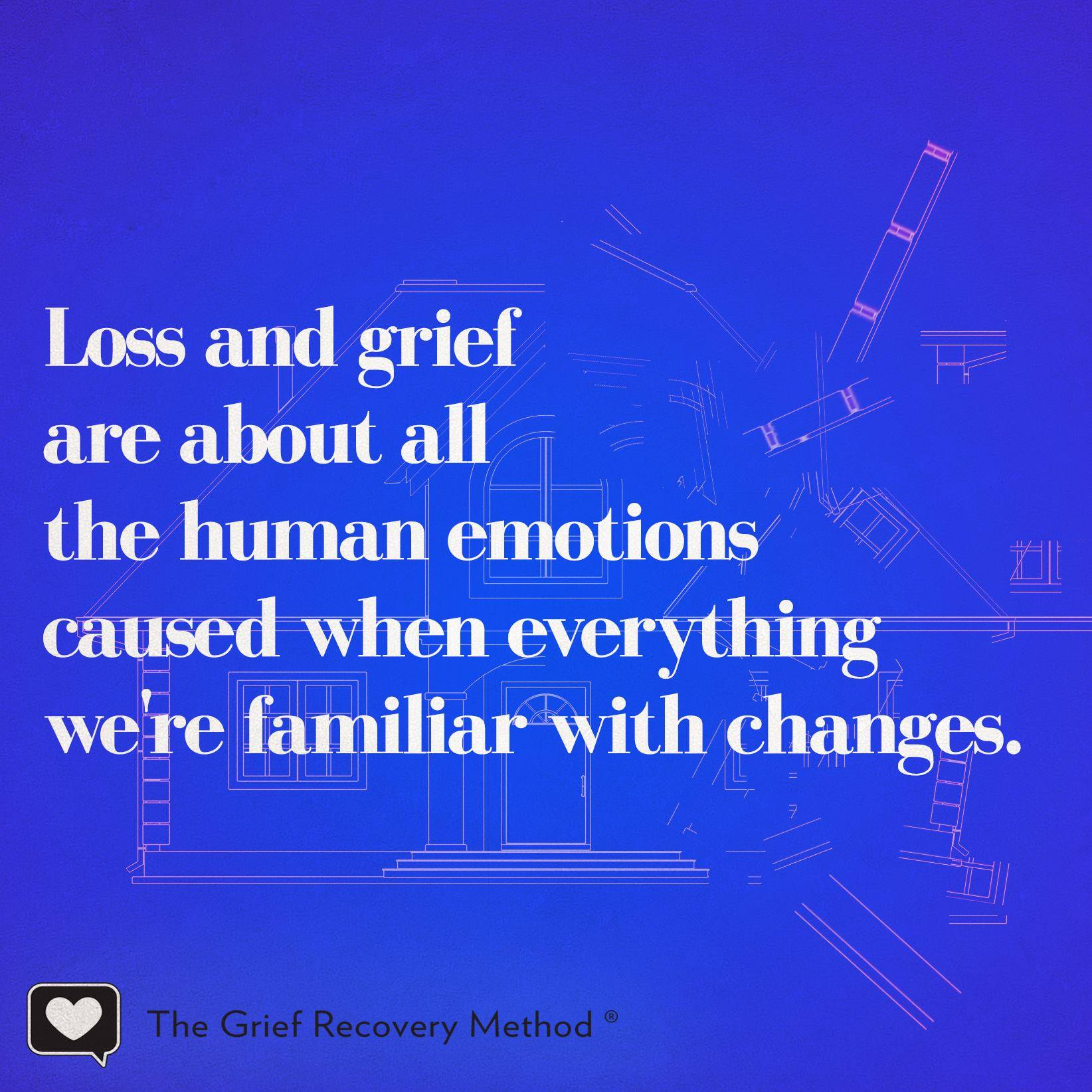 grief is normal and natural reaction to the end of or change in familiar pattern of behavior
